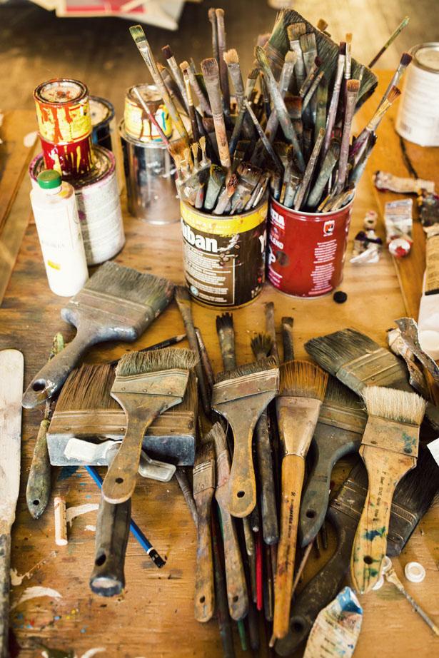 Artist Natalie Frank in her Brooklyn art studio