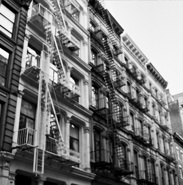 Looking up at Franklin Street in Tribeca
