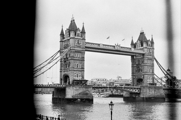 A black and white film journey through London and the English countryside.