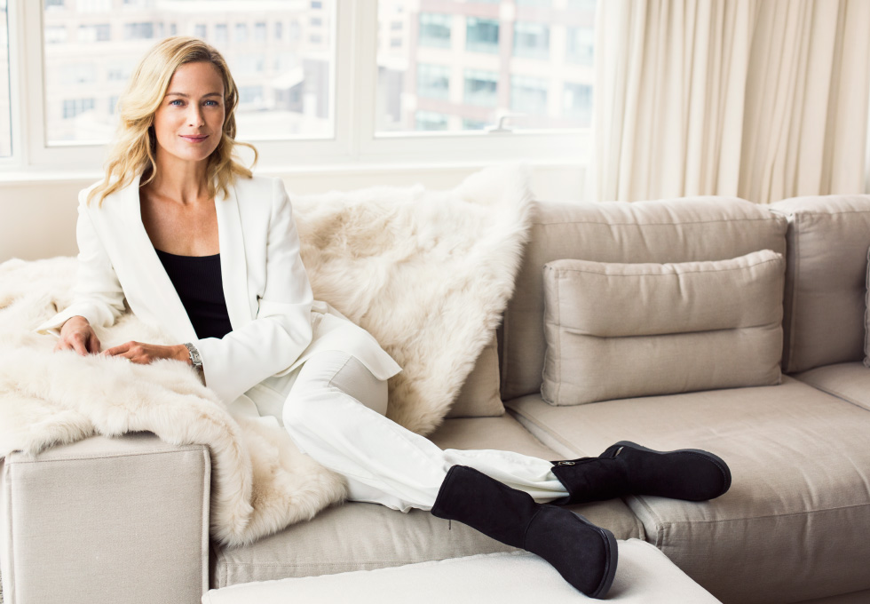 Super model Carolyn Murphy models UGG boots new luxury collection as the face of their new fall 2015 campaign