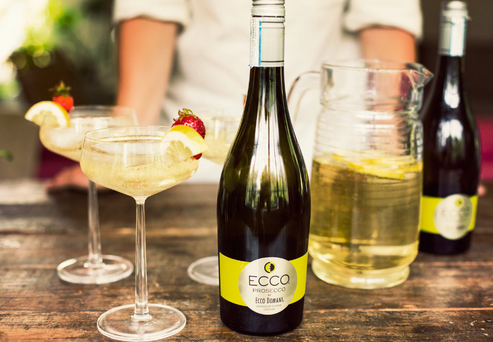 Jared McGill makes an afternoon spritzer for friends with Ecco Domani's Ecco Prosecco on a weekend in upstate New York.