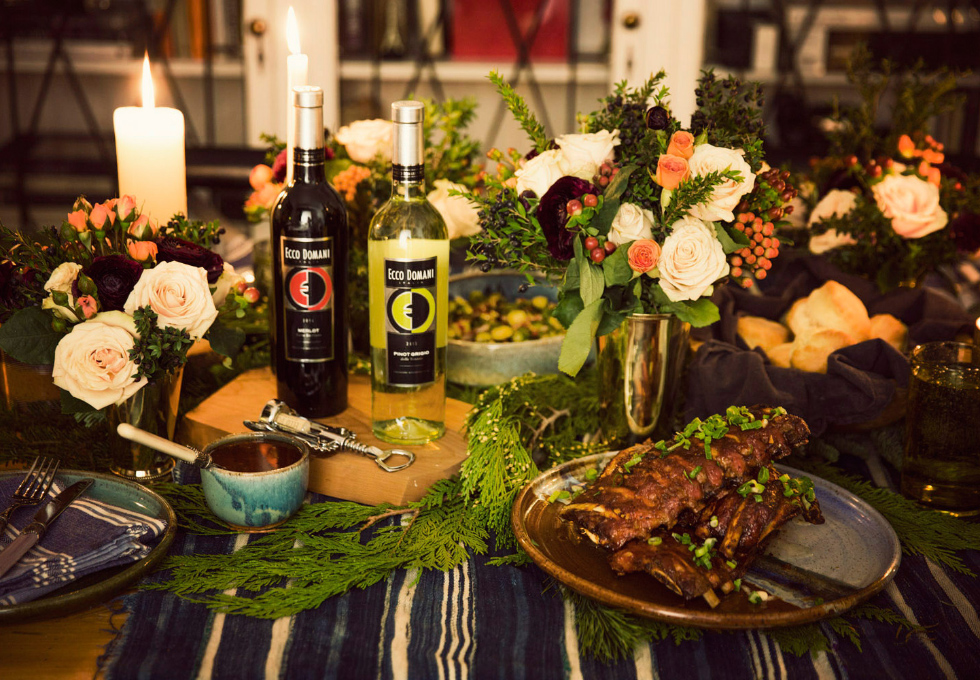 Holiday party with Ecco Domani Merlot and Pinot Grigio