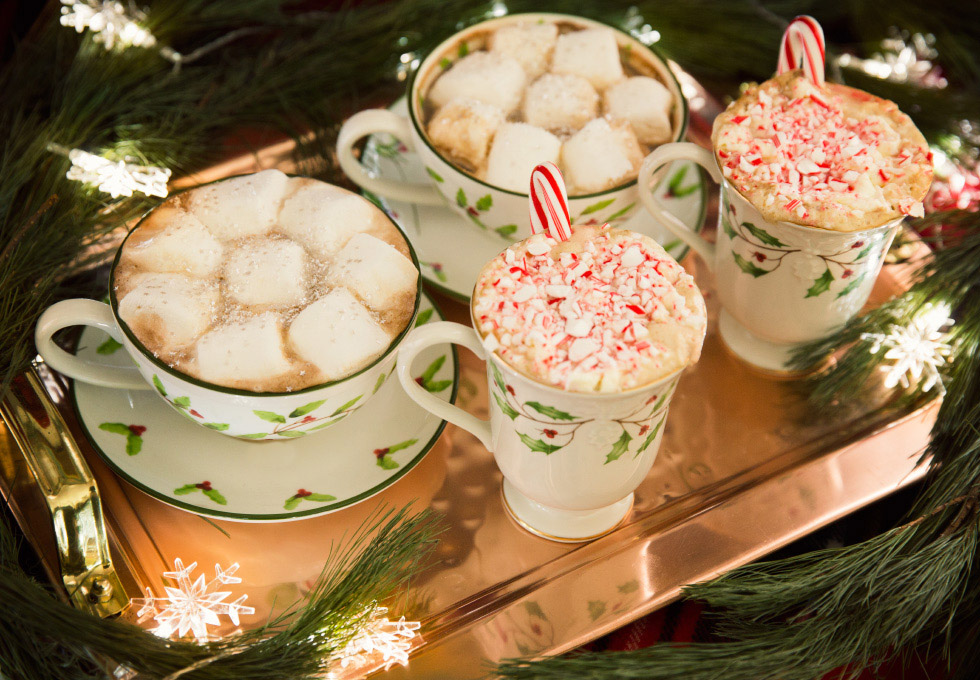 Two perfect holiday coffee cocktails using the ease and tastiness of Nespresso for Hot Mocha and Candy Cane Coffee.