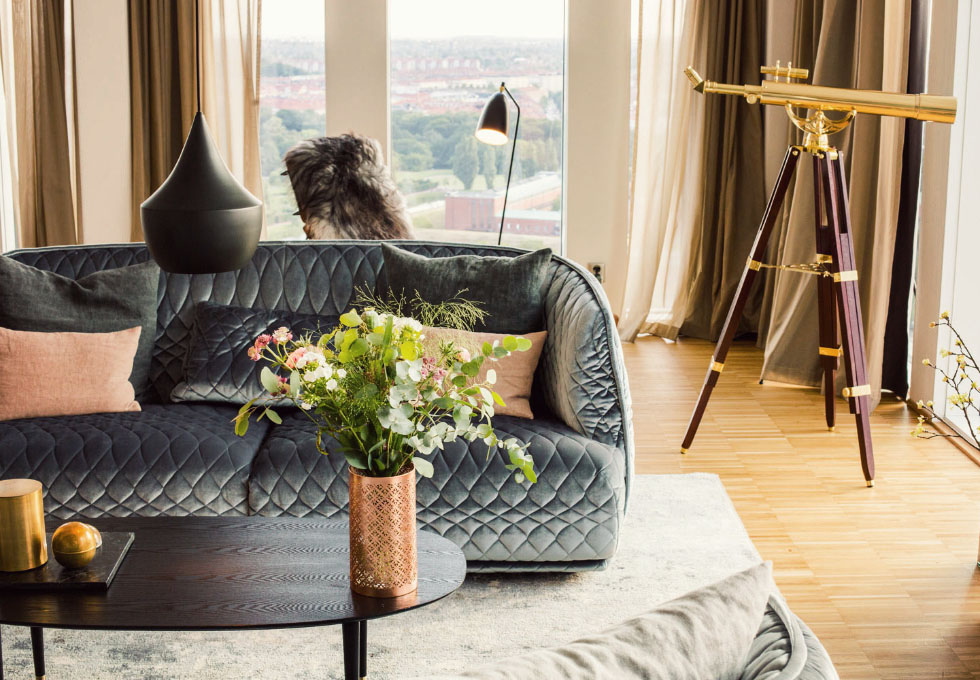 Inside Clarion Hotel & Congress Malmo Live, a trendy hotel in central Malmo w/ sweeping views of the city and a celebrity chef restaurant on the top floor.