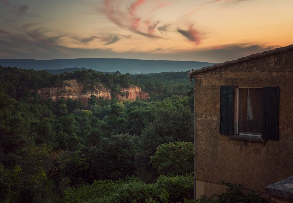 Exploring the ochre hues of Roussillon, France in Provence's Luberon national park.