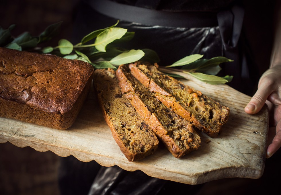 A traditional Persimmon Holiday Loaf with local seasonal ingredients from the market in Provence in December.