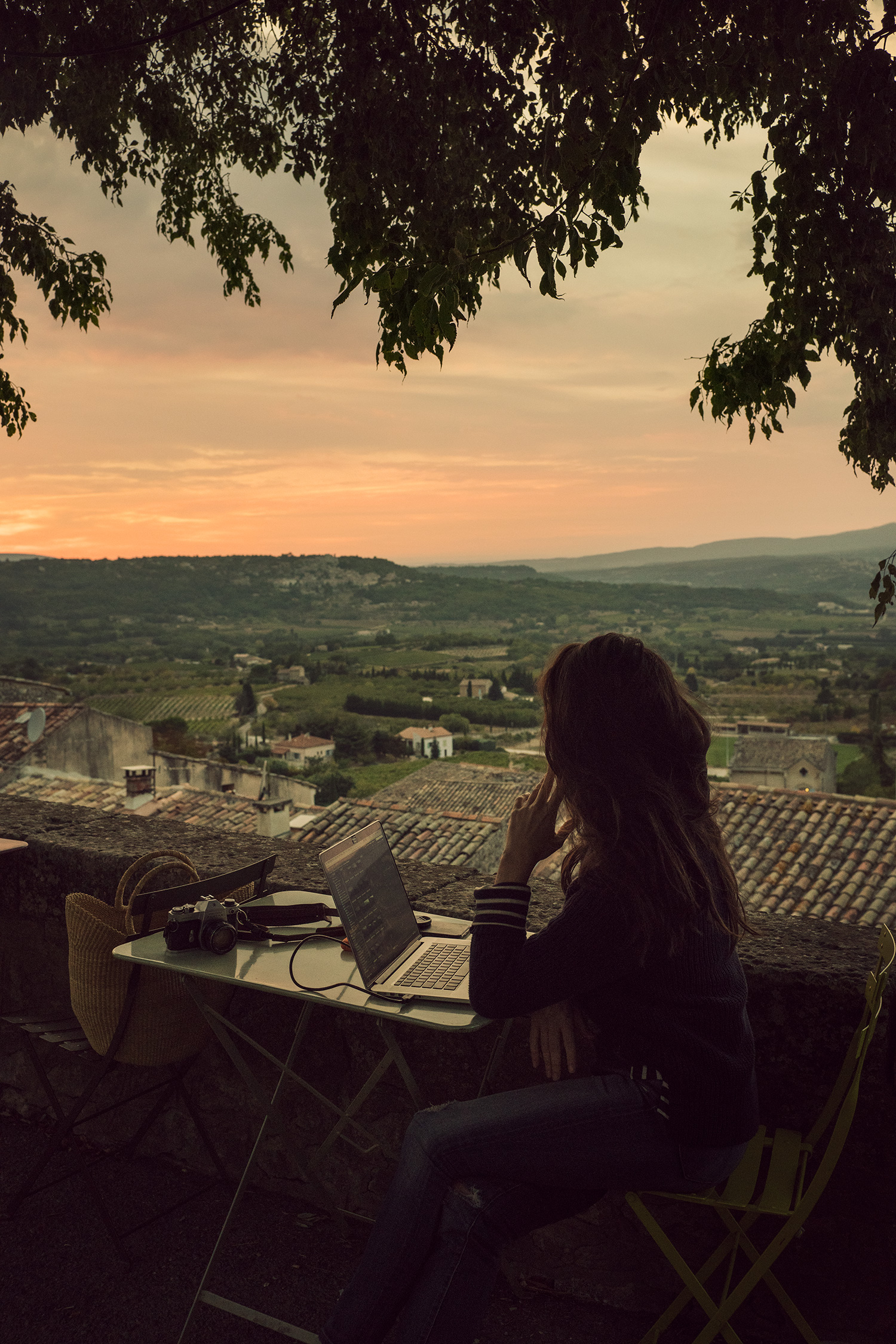 Sunset vista from the small Provencal town of Bonnieux, France